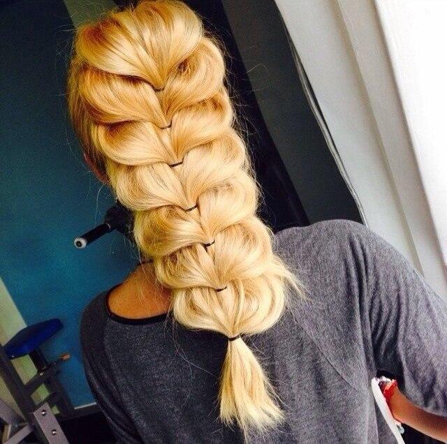 прически из резиночек на длинные волосы