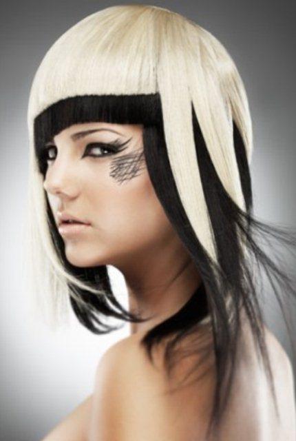 Волосы сверху белые снизу черные