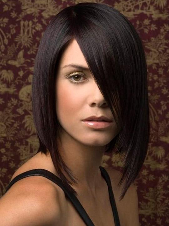 Прически темные волосы средней длины
