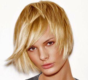 Балаяж на коротких светлых волосах
