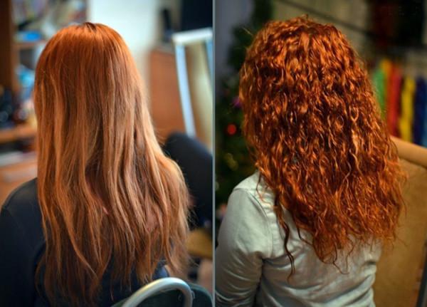 Био завивка на рыжих волосах с эффектом омбре