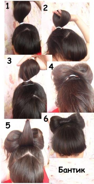 Поэтапно как сделать бант из волос