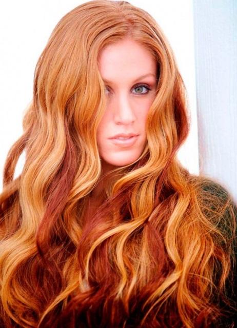 Как выглядит мелирование на рыжих волосах