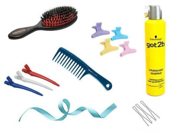 Для создания кос с лентой своими руками могут понадобиться эти приспособления