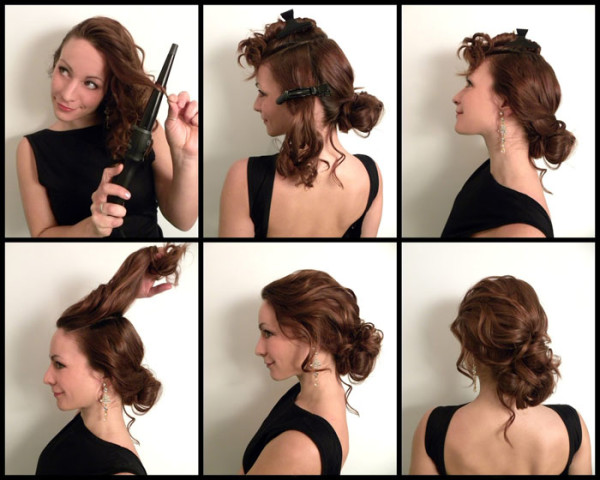 Достаточно праздничный вариант можно создать своими руками, предварительно завив волосы плойкой среднего размера