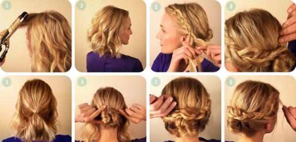 Если у вас локоны средней длины, то вместо валика из своих волос можно использовать специальный бублик