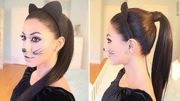 Если волосы короткие – можно сделать ушки из подручных материалов