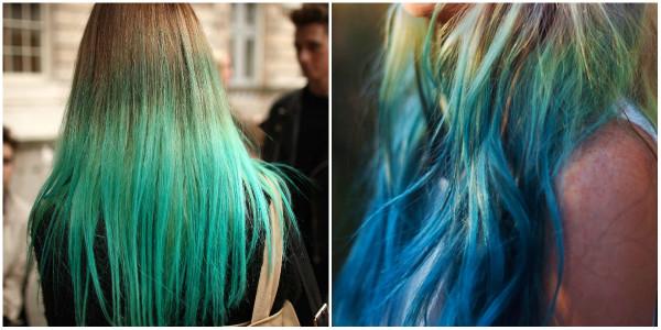 Если вы не готовы резко изменить образ, примерьте яркие кончики, созданные методом окрашивания dip dye