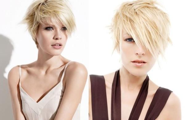 Естественный скандинавский блонд в сочетании с короткой стрижкой и удлиненной асимметричной челкой