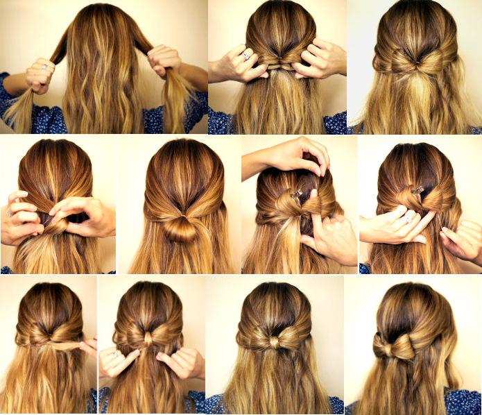 Прическа бант из волос пошаговая инструкция фото
