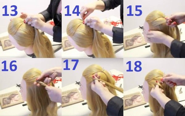 Фиксация прядей с начесом и начало плетения косы