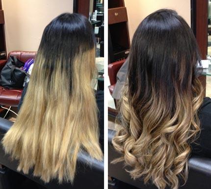 Омбре фото на черные волосы фото до и после