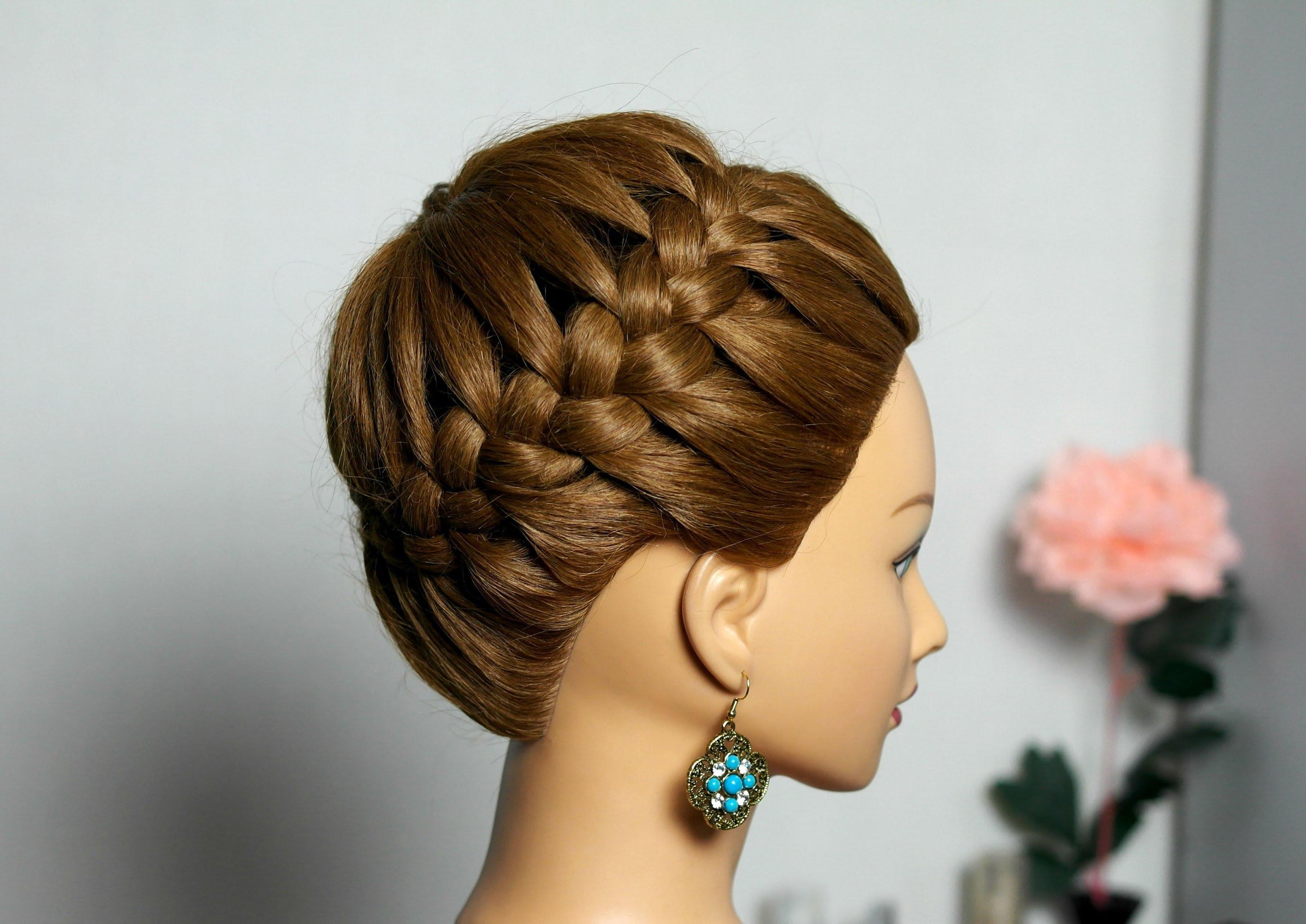 косы прически на средние волосы корзинка