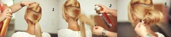 Фото: первый этап создания причёски – разделение волос и формирование пучка