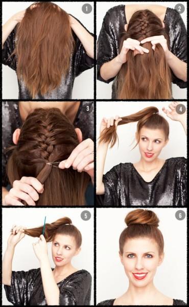 Фото процесса создания вертикальной косички и пучка из оставшихся расплетёнными волос