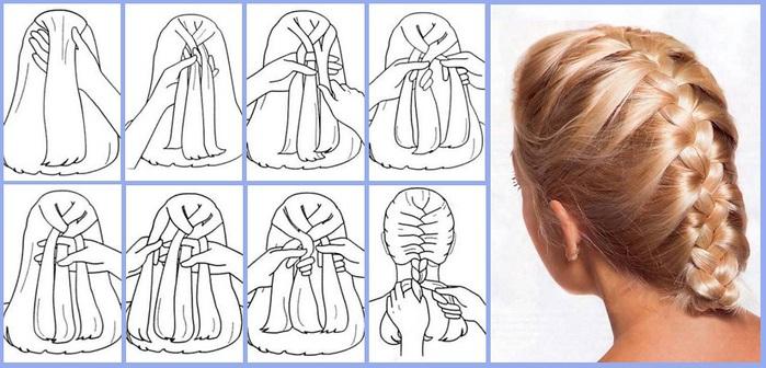 Фото: схема плетения колоска