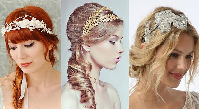 Причёска с повязкой в греческом стиле на средние волосы