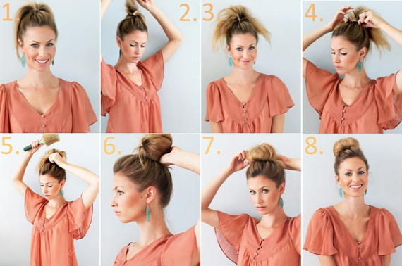 Как делается пучок с волосами среднего размера