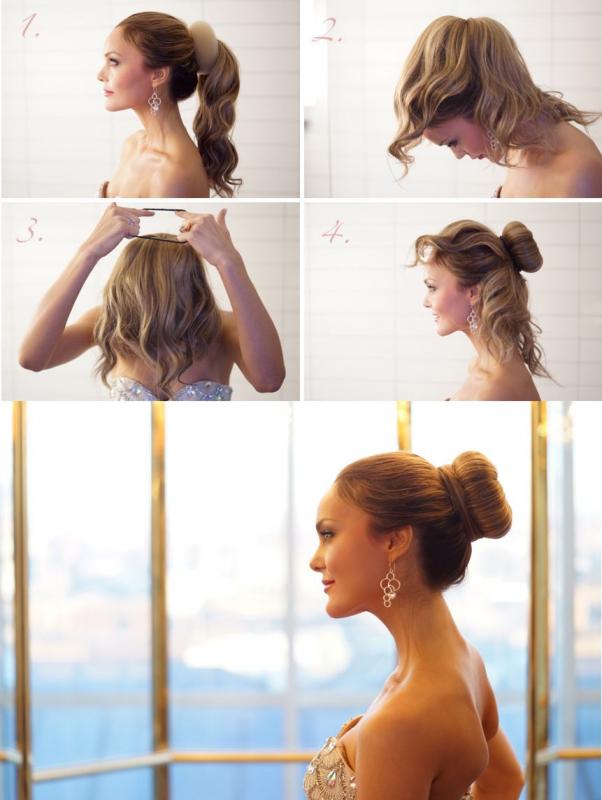 Прически пучок своими руками на средние волосы