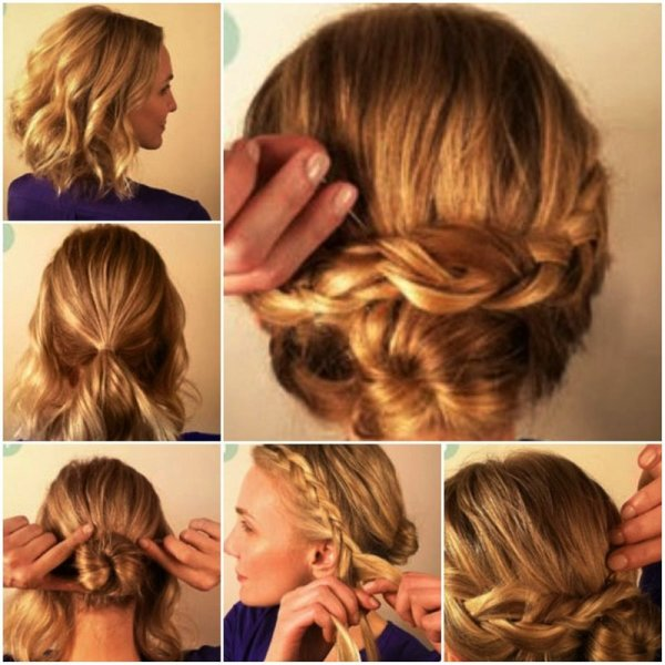 Косы – прерогатива длинных локонов. Ошибаетесь! Пучок и коса – лучшее решение для любого повода, даже если у вас короткие волосы.