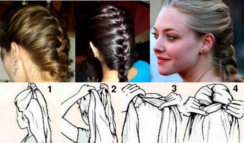 Косы на средние волосы на себе пошаговая инструкция