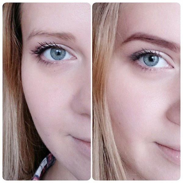 На фото - брови до и после окрашивания хной