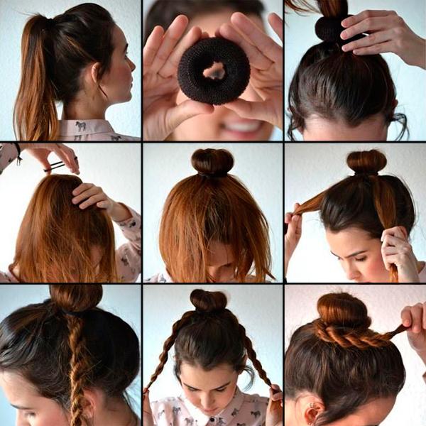 Волосы в пучок своими руками
