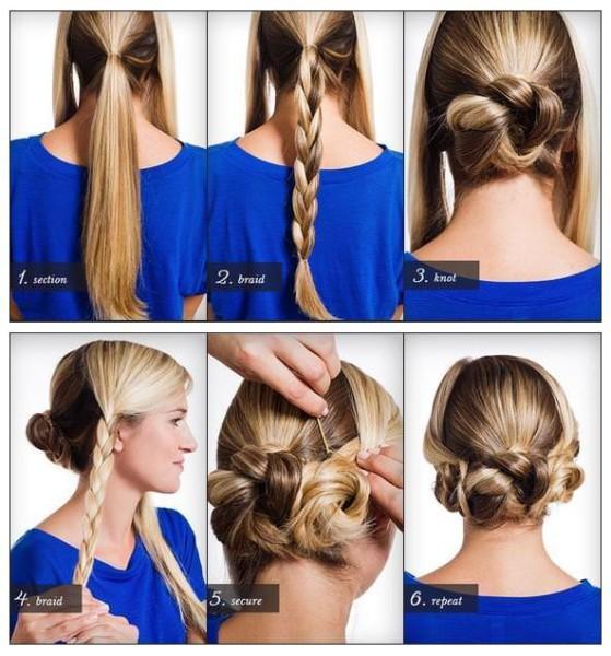 На фото - последовательность создания прически со средней длиной волос на основе трех низких кос