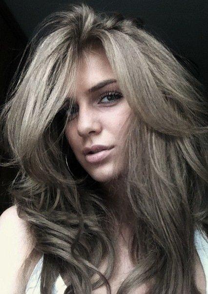 Холодный серый цвет волос фото