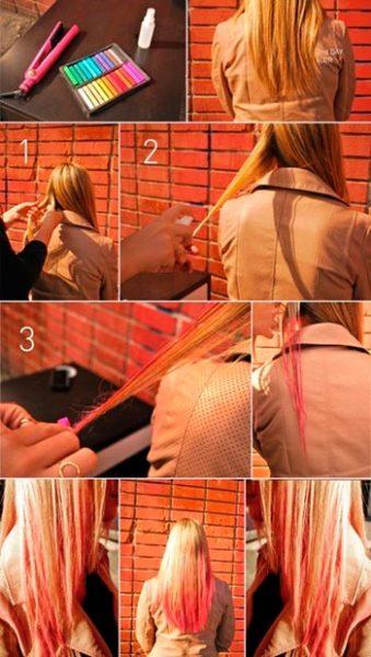 На фото – процесс окрашивания кончиков с помощью мелков