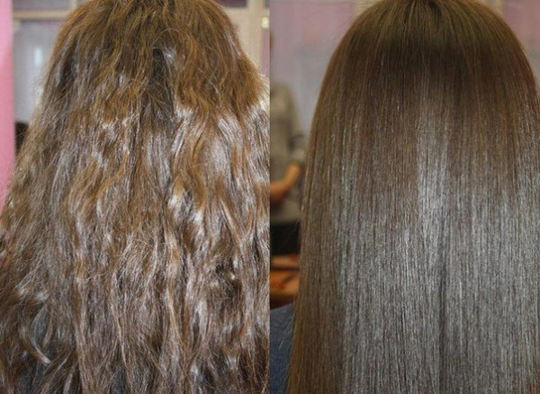 На фото – волосы до и после применения желатиновой маски