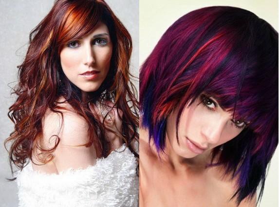 На фото изображены удачные цветовые сочетания красок, подходящие к тону кожи.