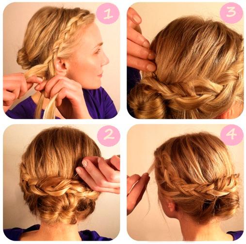 На фото представлен еще один вариант того, как с помощью бублика можно создать пучок с косами