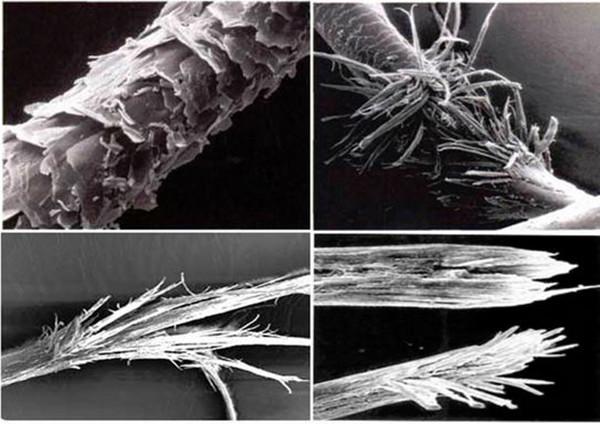 На фото представлено как выглядит посеченная волосинка под микроскопом.