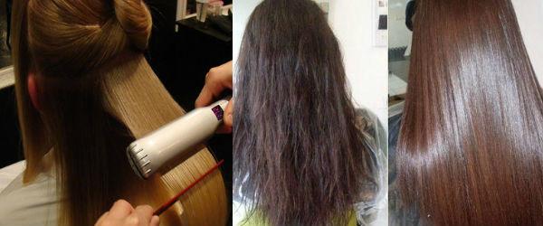 На фото: проглаживание прядей утюжком, а также шевелюра до и после процедуры