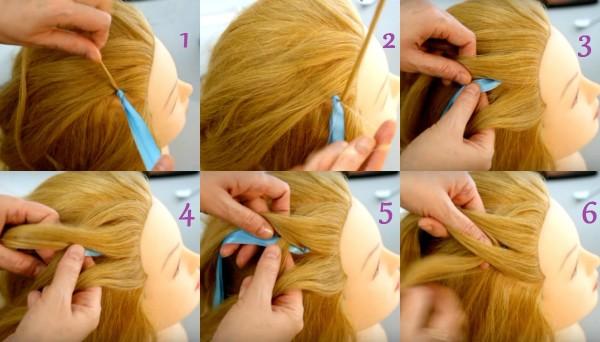 Начальный этап создания косы из 4 прядей