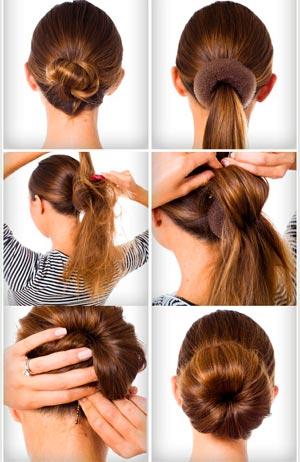 Наглядное фото, как сделать объемный пучок из волос