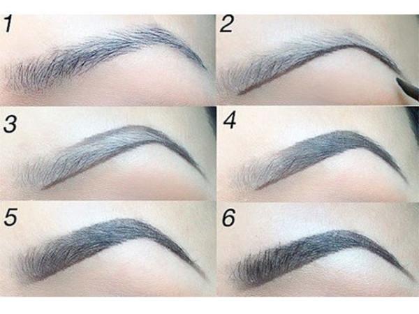Наглядный пример, как правильно красить брови тенями пошагово