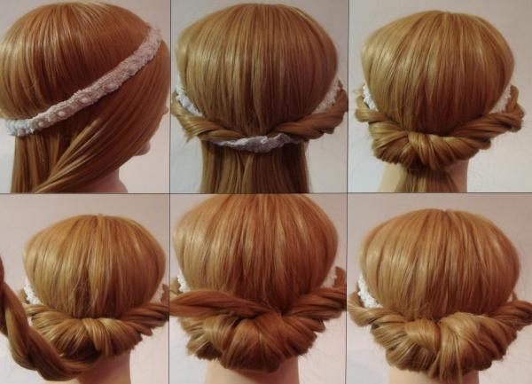 Наглядный пример того, как правильно закручивать волосы на повязку