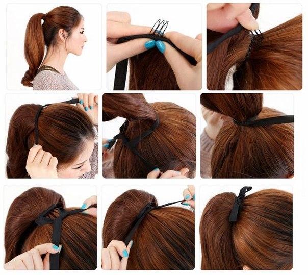 Как из волос на заколках сделать хвост