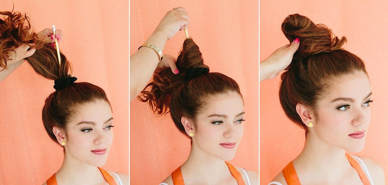 Как сделать пучок из волос высокий