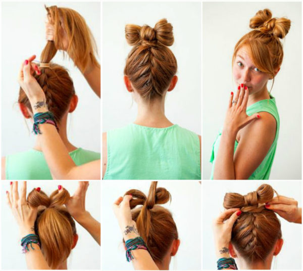 Обратный «колосок» с «бантиком» из волос создает игривое настроение и озорной образ на молодой девушке