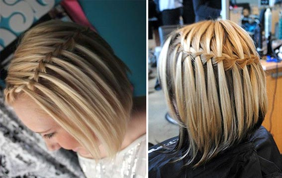 Очаровательное плетение волос: для коротких волос, как видите, также можно придумать интересные варианты