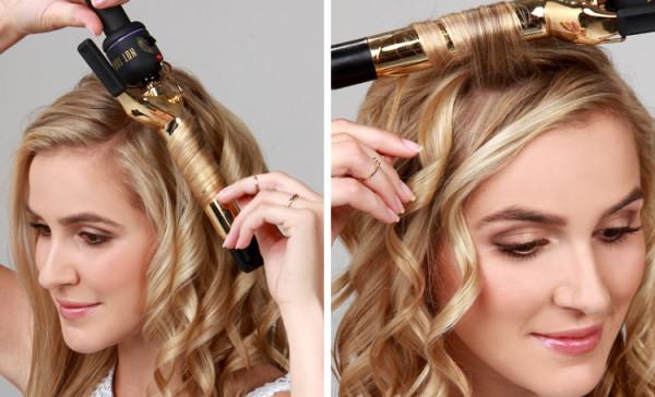 Перед тем как сделать прическу с локонами на бок, накрутите чистые волосы удобным для вас способом