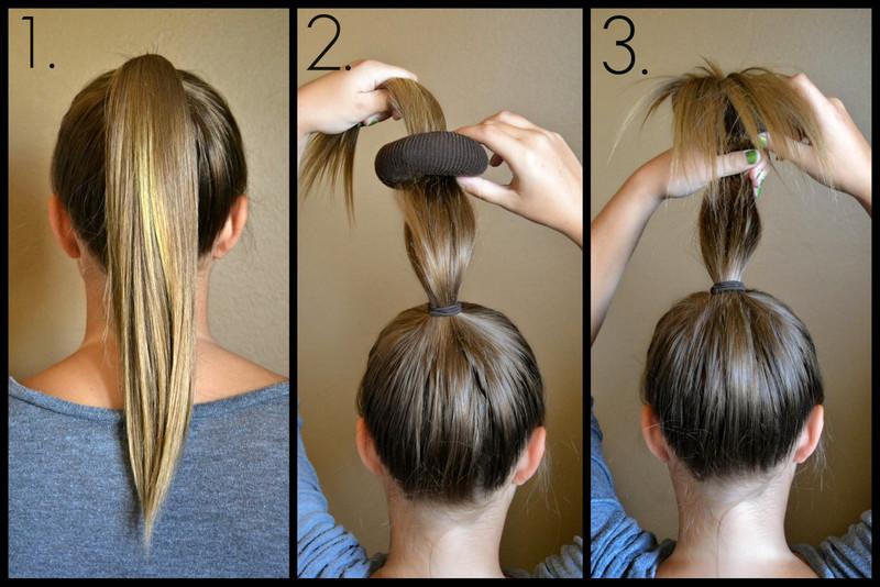 Пучки на длинные волосы своими руками на каждый день фото