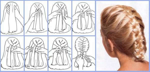 Подробная схема плетения причёски «колосок» своими руками