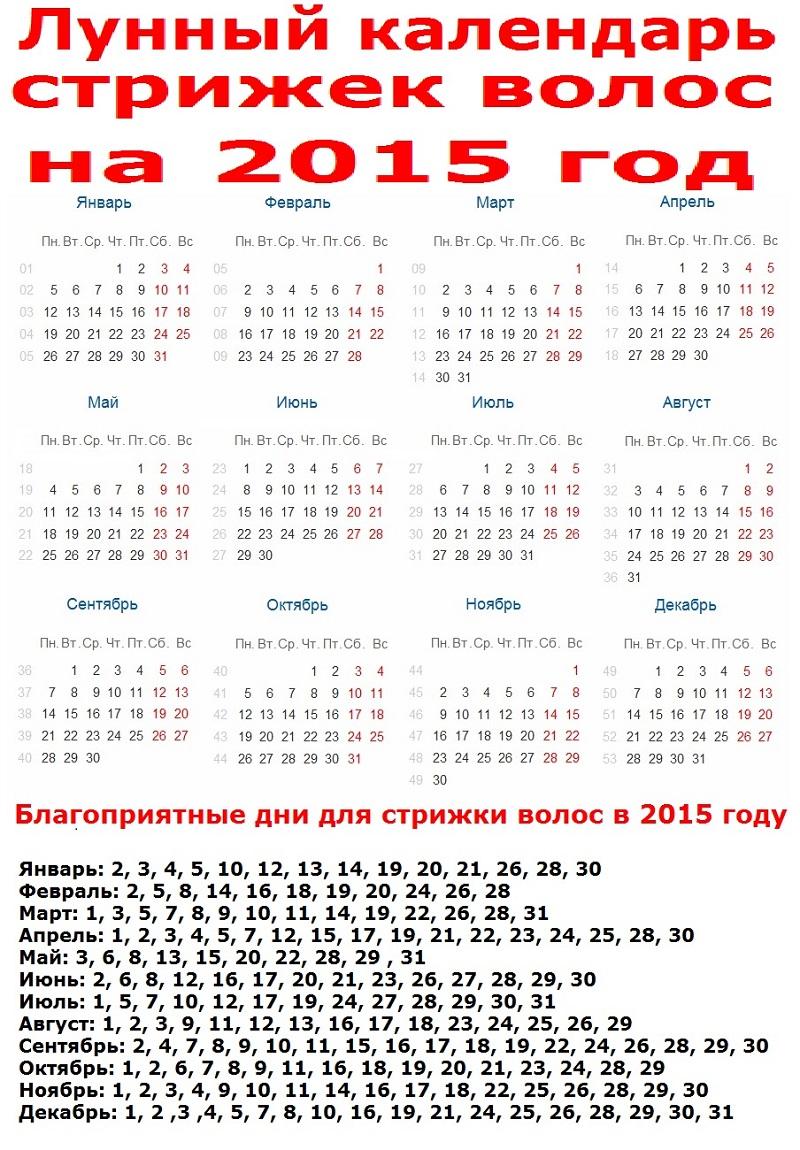 Календарь по видам стрижки