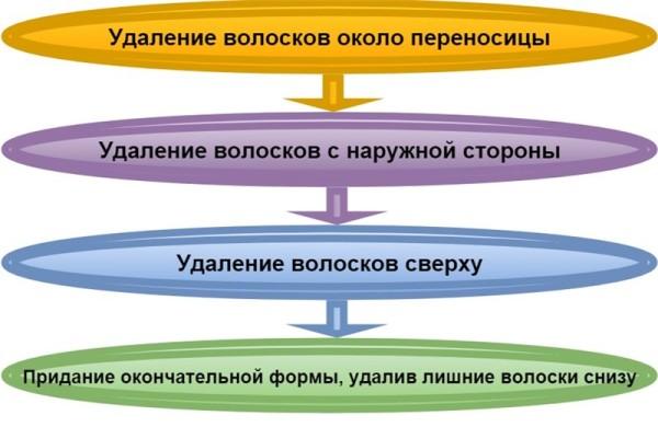 Последовательность действий при коррекции бровей пинцетом