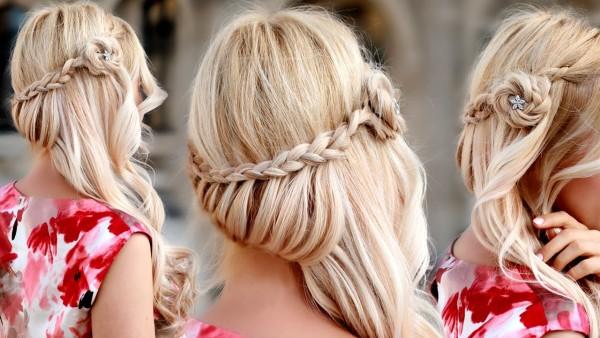 Нарядная прическа на длинные волосы своими руками