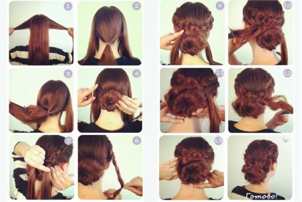 Принцип создания низкой прически с косами